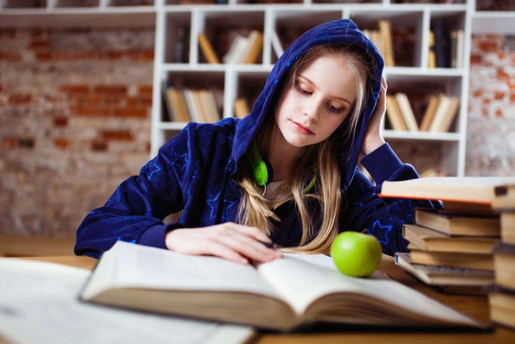 Girl Studying in High School